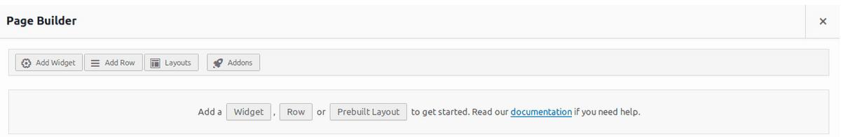 Начален интерфейс на SiteOrigin