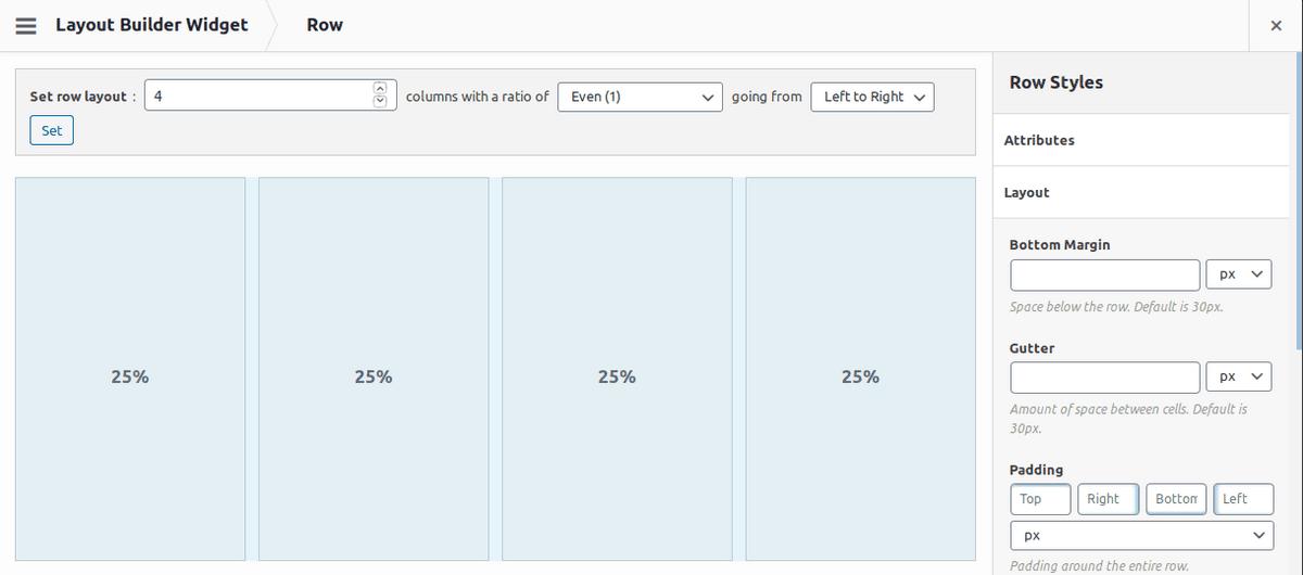 Конфигуриране на ред в SiteOrigin