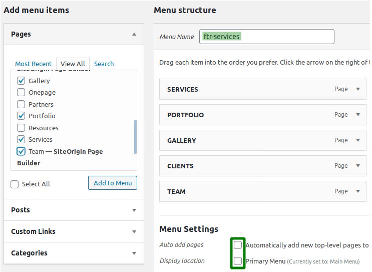 Създаване на меню 'ftr-services' в WordPress