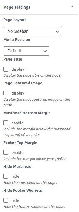 Настройки в панела Page settings