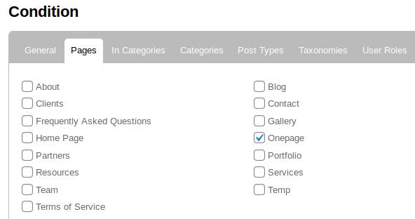 Маркиране на страница Onepage в раздела Pages