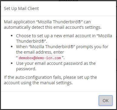 Прозорец с информация за автоматично настройване на Thunderbird