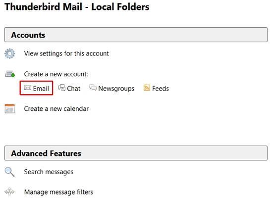 Интерфейс за създаване на нов акаунт в Thunderbird
