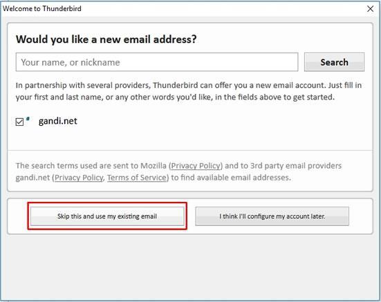 Опция за създаване на нов имейл акаунт
