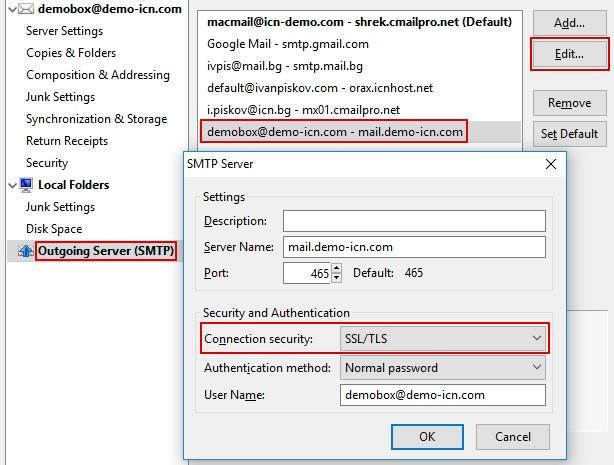 Ръчно активиране SSL настройки на изходящия мейл сървър