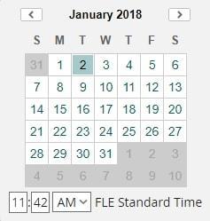 Календар за посочване на дата и време