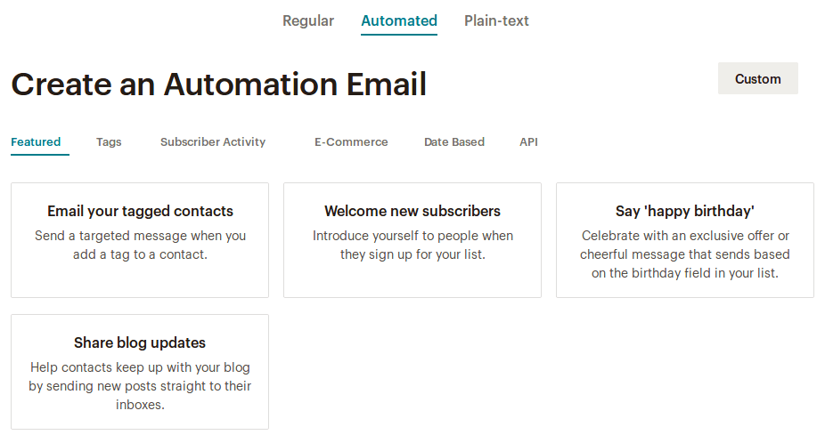 Automated Mailchimp кампания