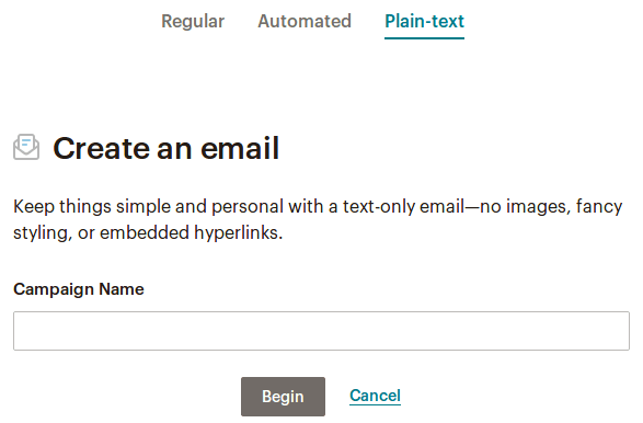 Plain-text Mailchimp кампания