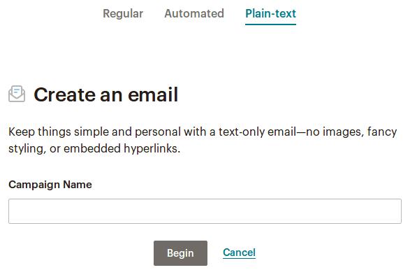 Plain-text Mailchimp кампания