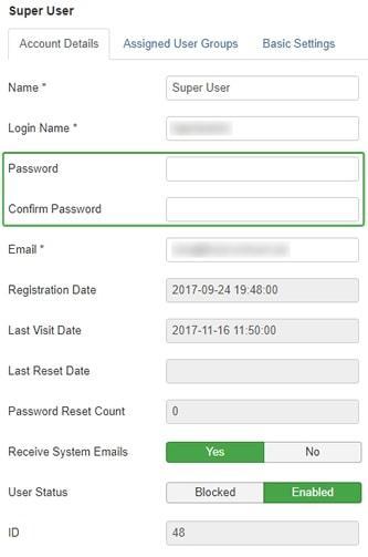 change joomla password