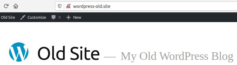 Изглед на стария WordPress сайт в браузър