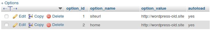 Изглед на WordPress домейни в колона option_value