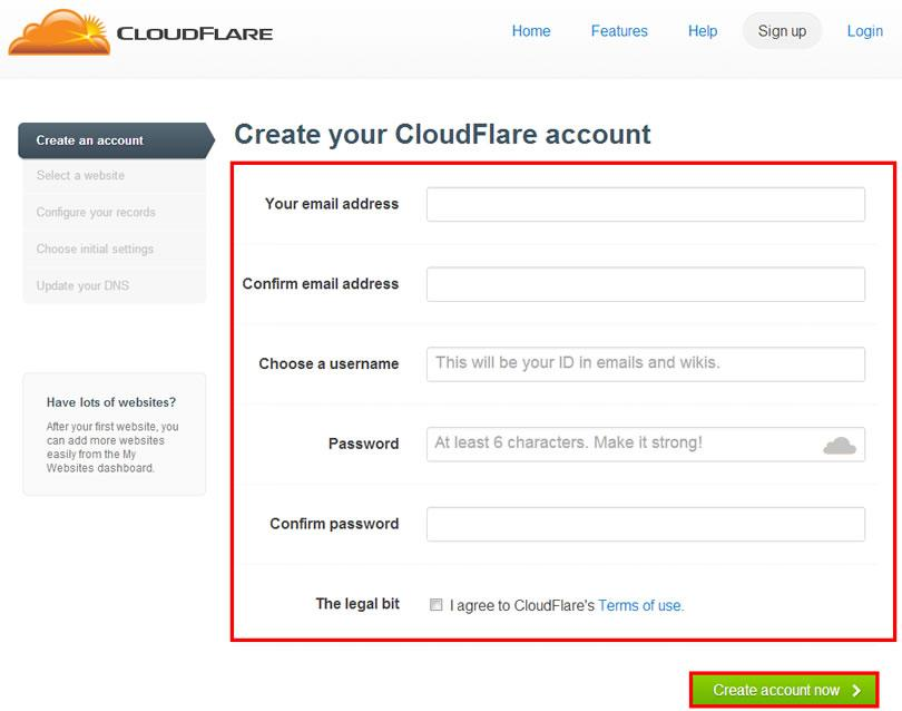 cloud flare account