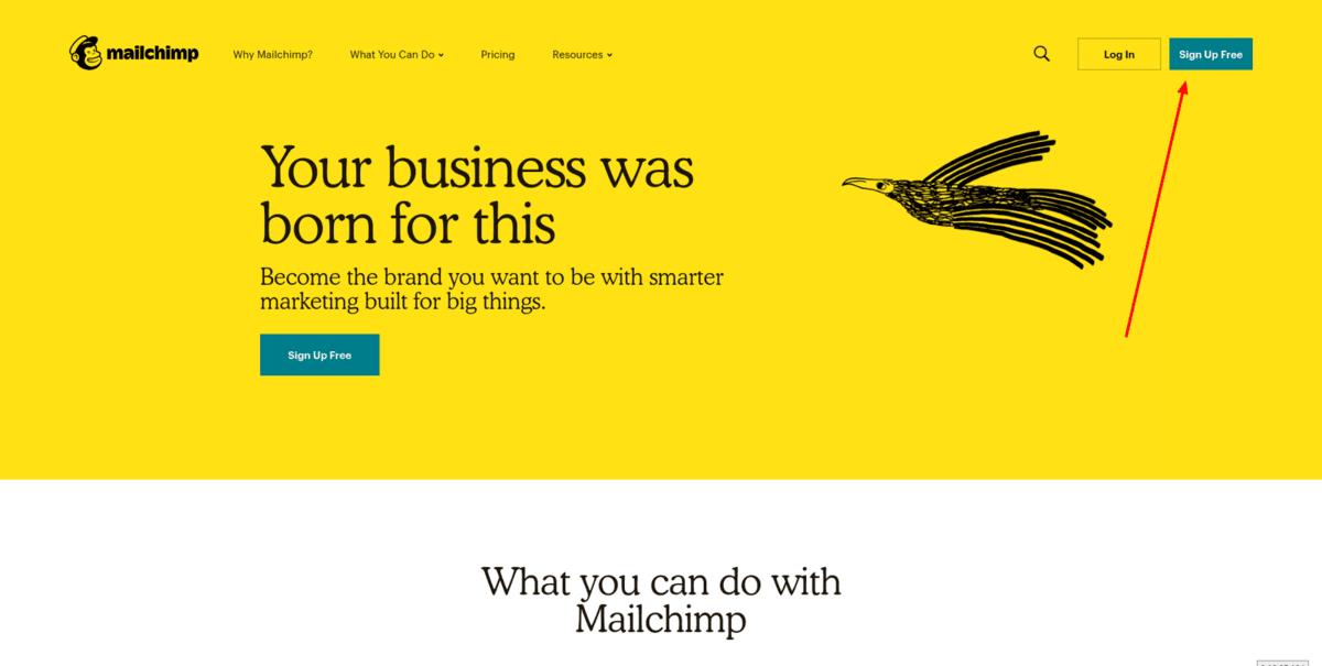 Бутон за създаване на безплатен акаунт в MailChimp
