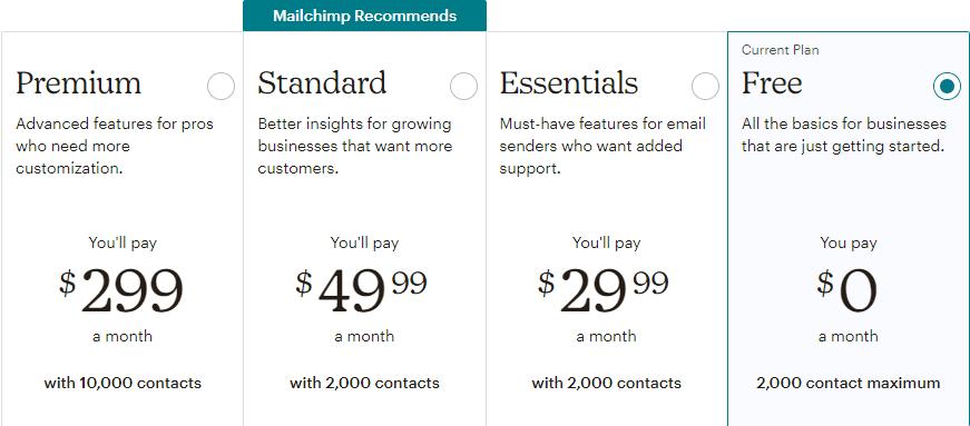Избиране на план в Mailchimp