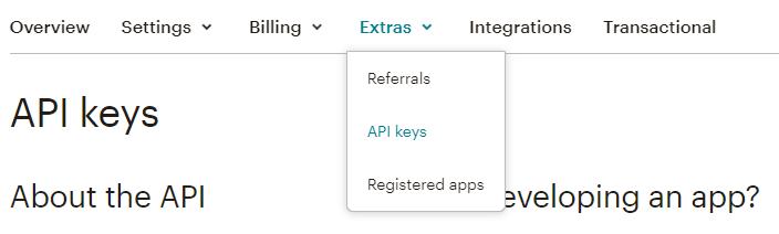 Линк API keys в панела Extras