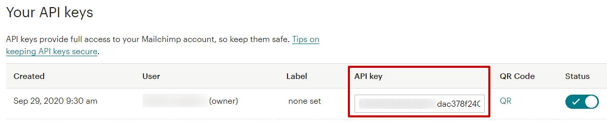Поле за въвеждане на API ключ в MailChimp