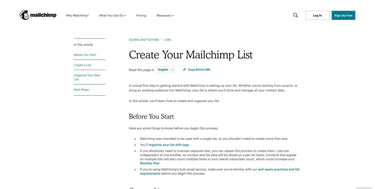 Панел за създаване на MailChimp списък