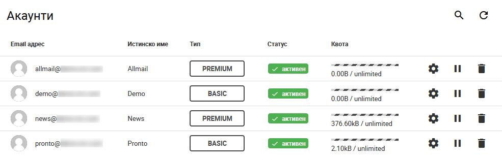 Таблица с пощенски акаунти и достъп до настройки