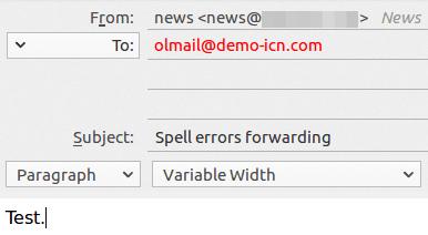 Изпращане на тестово писмо с грешен имейл адрес