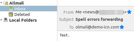 Получаване на писмото в коректния пощенски акаунт