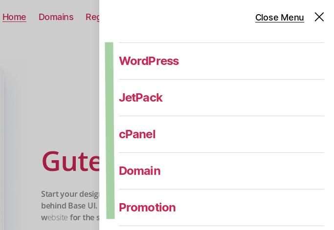 Линкове към категории в помощно странично меню