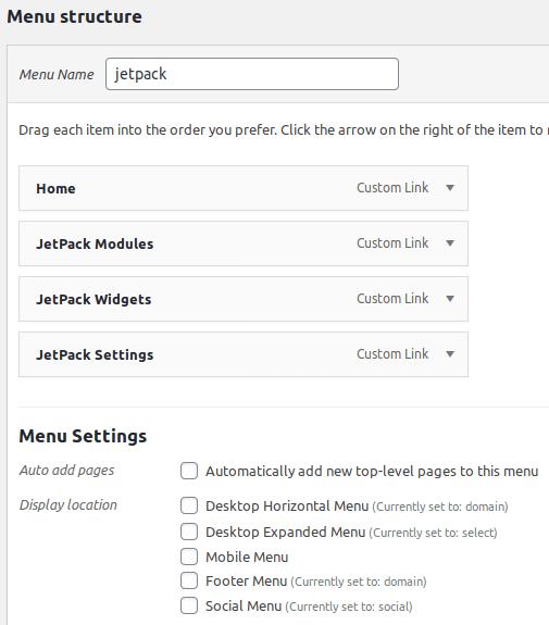 Създаване на меню JetPack