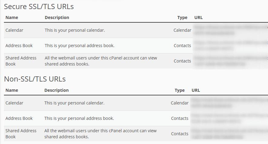 Настройки в секция Direct URLs for Calendars and Contacts