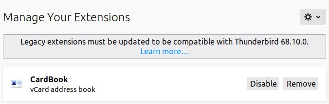 Добавяне на секция CardBook в панела Manage Your Extensions