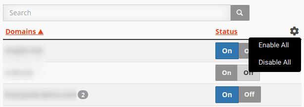 Изглед на списък с домейни в Configure Greylisting