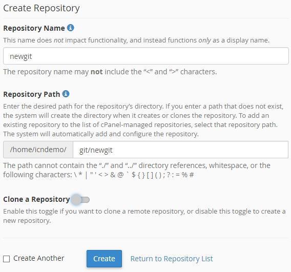 Управление на настройки в интерфейса Create Repository
