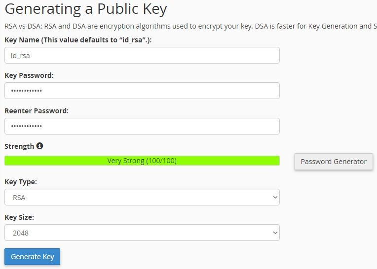 Интерфейс за генериране на публичен ключ