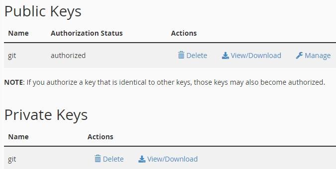 Таблица със съществуващи публични и частни ключове