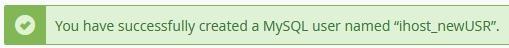 Потвърждение за успешно създаване на MySQL потребител