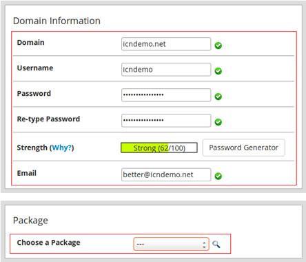 Създаване на нов потребителски cPanel акаунт в WHM