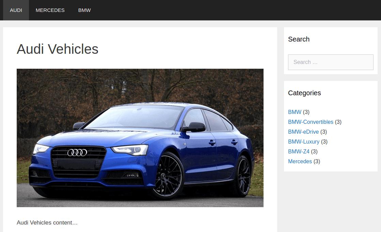 Изглед на началната страница Audi
