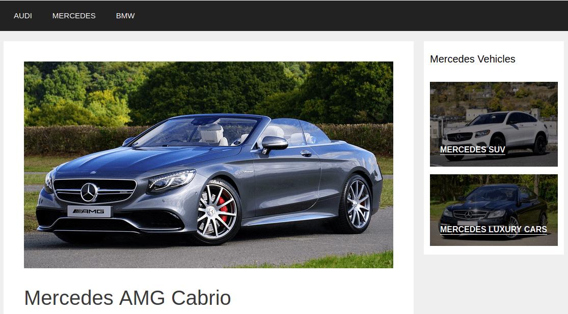 Изглед на страница Mercedes AMG Cabrio
