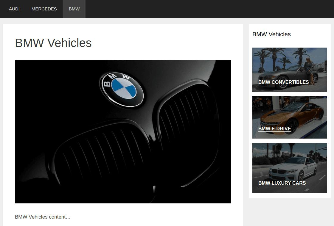 Изглед на страница BMW