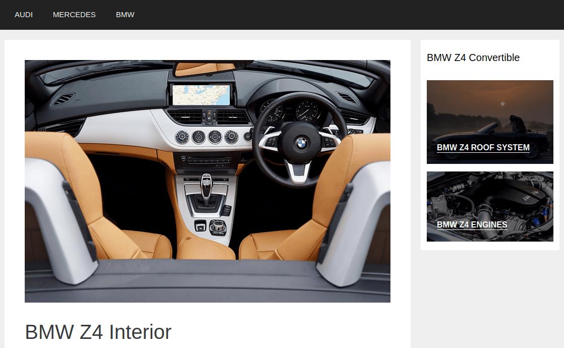 Изглед на страница BMW Z4 Interior