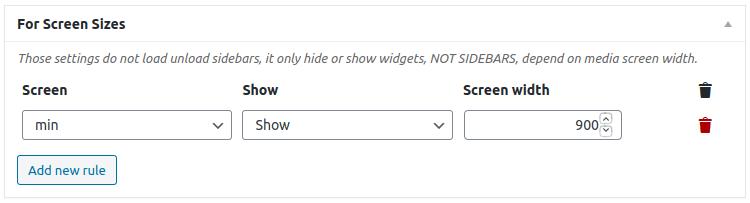 Настройка 'For Screen Sizes'