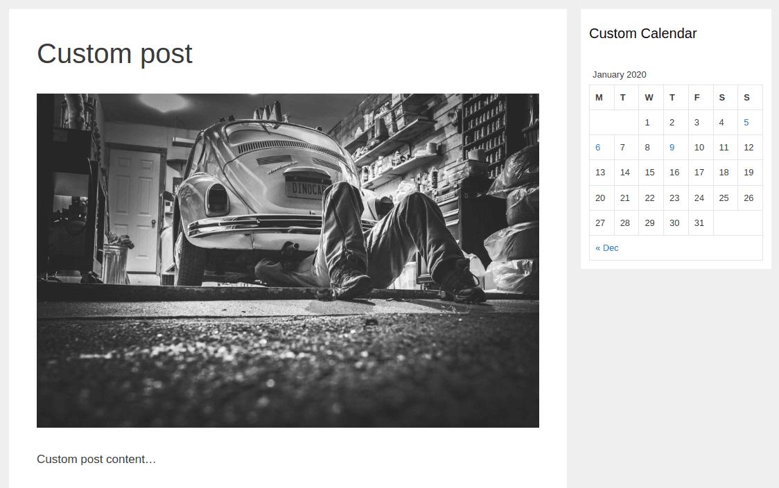 Изглед на страница Custom post и лента Custom