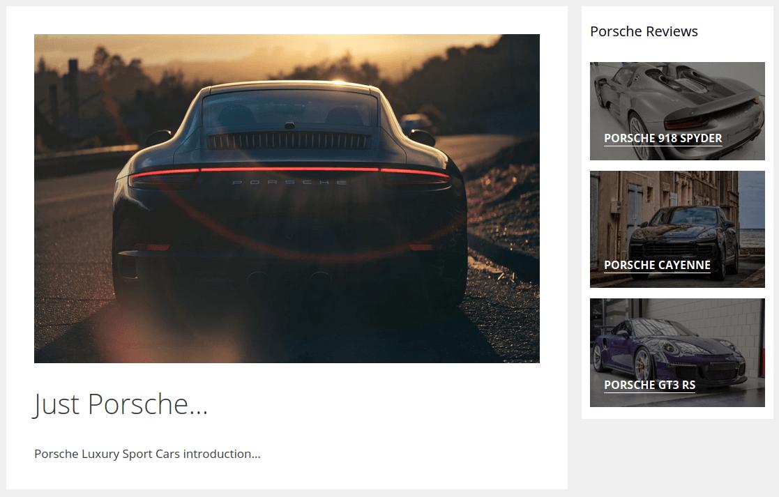 Изглед на страница Just Porsche…