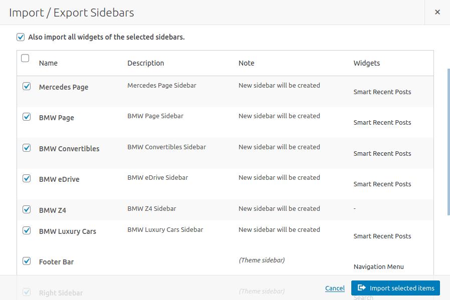 Опции за импортиране в панела Import/Export Sidebars
