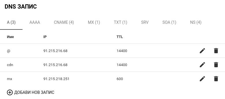 Изглед на секция DNS запис
