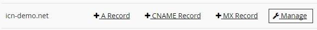 Линк Manage в таблицата на домейна