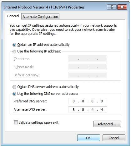 change windows dns