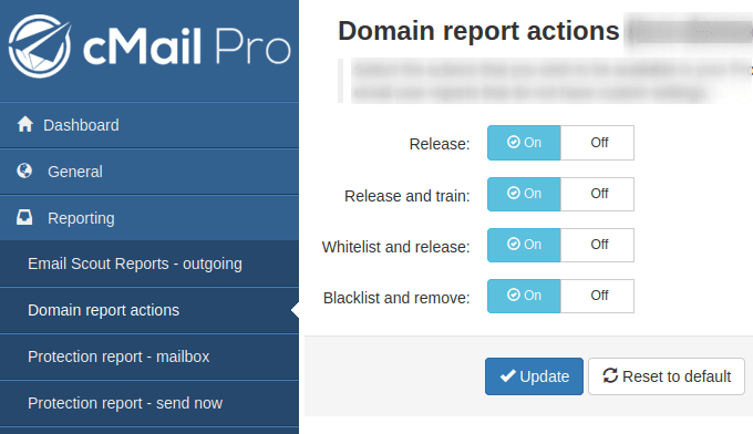 Изглед на панела Domain Report Actions