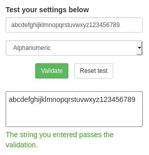 Настройка Alphanumeric