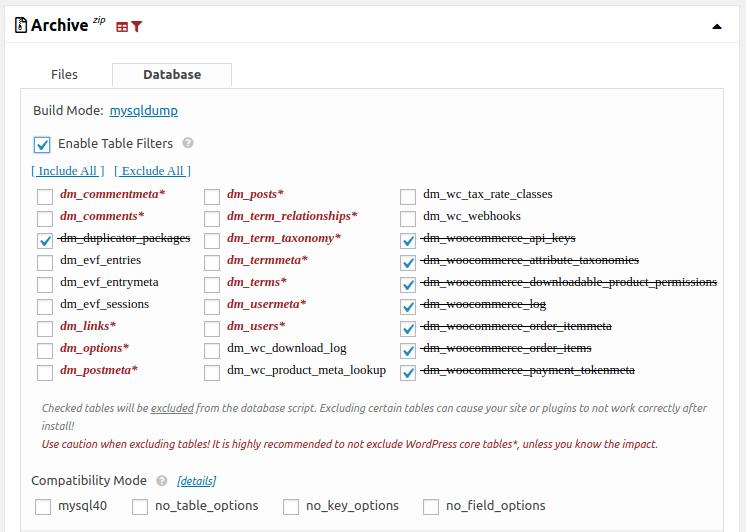 Настройки за филтриране на таблици от базата данни
