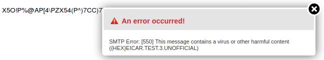 Грешка при изпращане на тестов низ в съдържанието на имейла